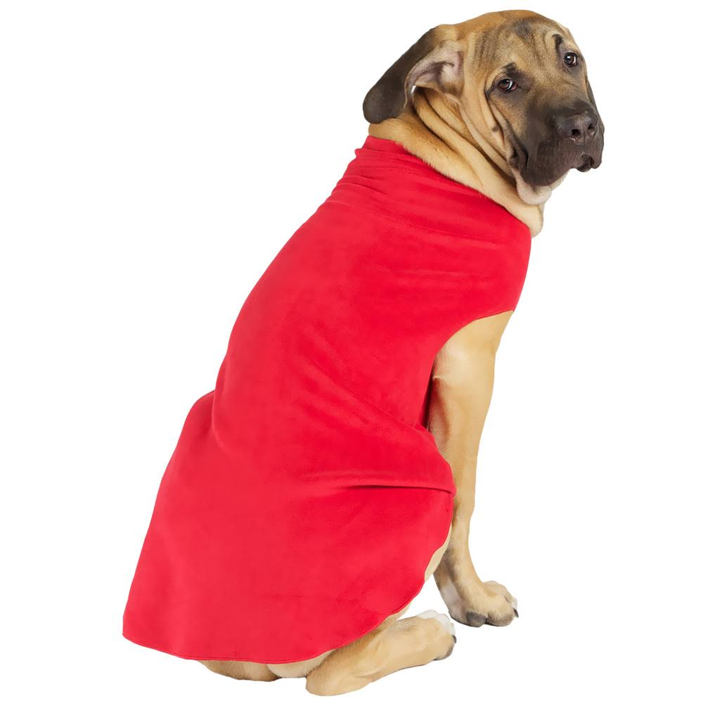 Gold Paw Stretch Fleece Dog Coat - Red, Size 10