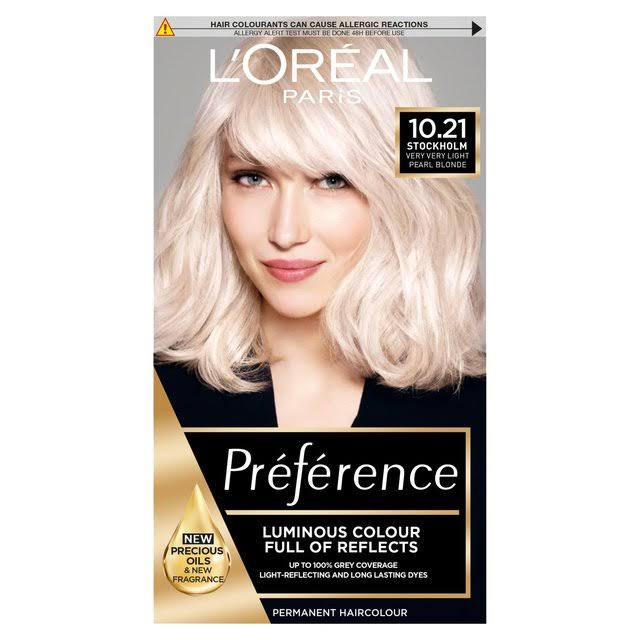 L'oreal Paris Preference Infinia Hair Dye - 10.21 Stockholm Very Light Pearl Blonde