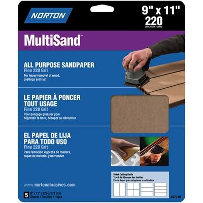 Norton 47710 Multisand Sandpaper 220 Grit 9-Inch x 11-Inch 5-Pack