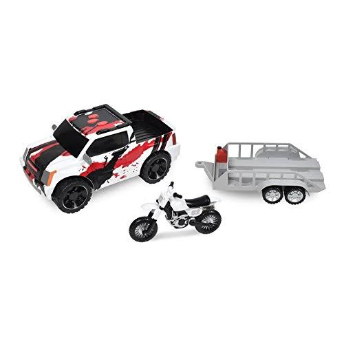 Maxx Action Sportsman Series Pickup Truck with Trailer, 1:16 Scale (Color & Style May Vary)
