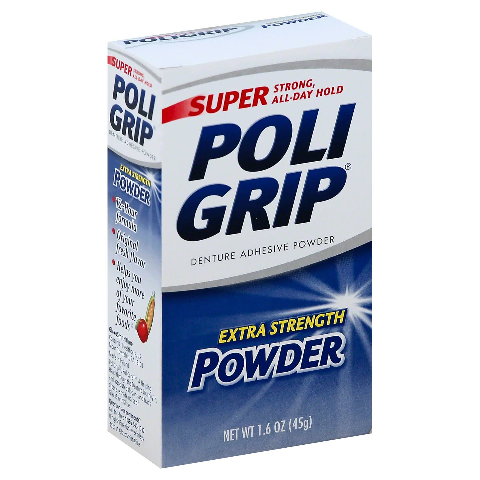 Super Poligrip Extra Strength Denture Adhesive Powder - 1.6oz