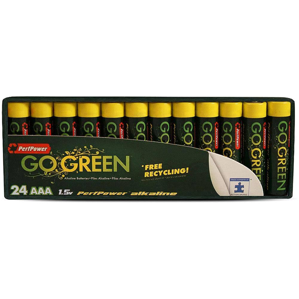 Go Green AAA Alkaline Batteries - 24 Pack, 1.5V