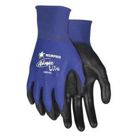 MCR Safety N9696M Ninja Lite, 18 Gauge Blue Nylon, PU Coated Gloves, Medium