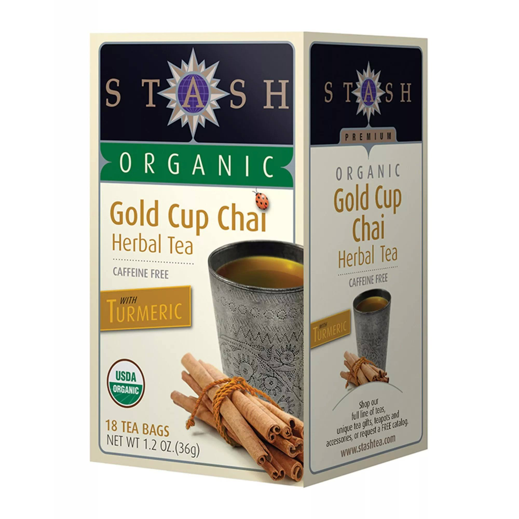 Stash Turmeric Organic Caffeine Free Gold Cup Chai Herbal Tea