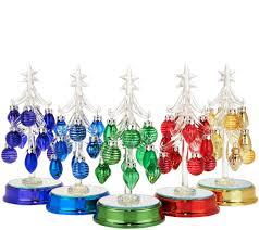 Bethlehem Lights Christmas Trees Qvc by Kringle Express Set Of 5 Lit Glass Trees W Ornaments U0026 Gift Boxes