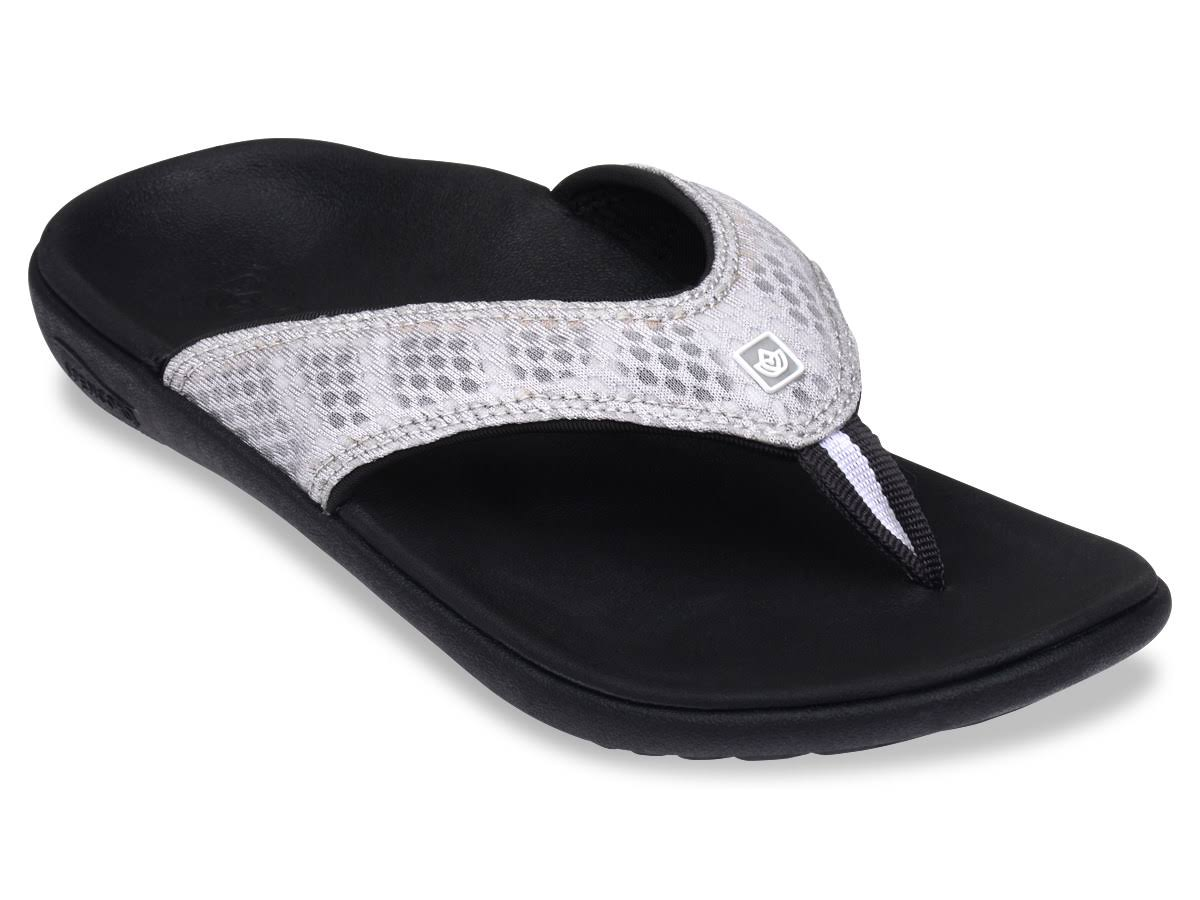 Spenco Black & Silver Breeze Sandals Women's Size 11