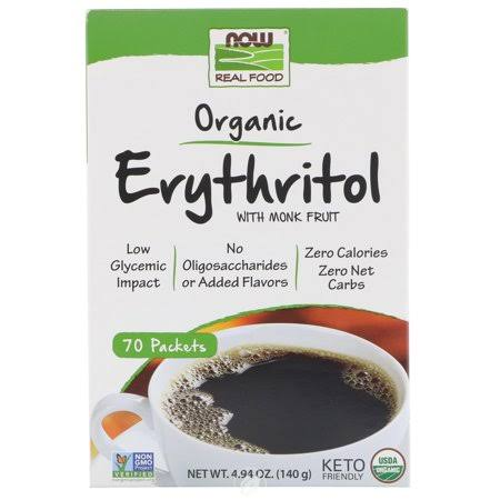 Now Foods Organic Erythritol with Monk Fruit - 70 Packets Box