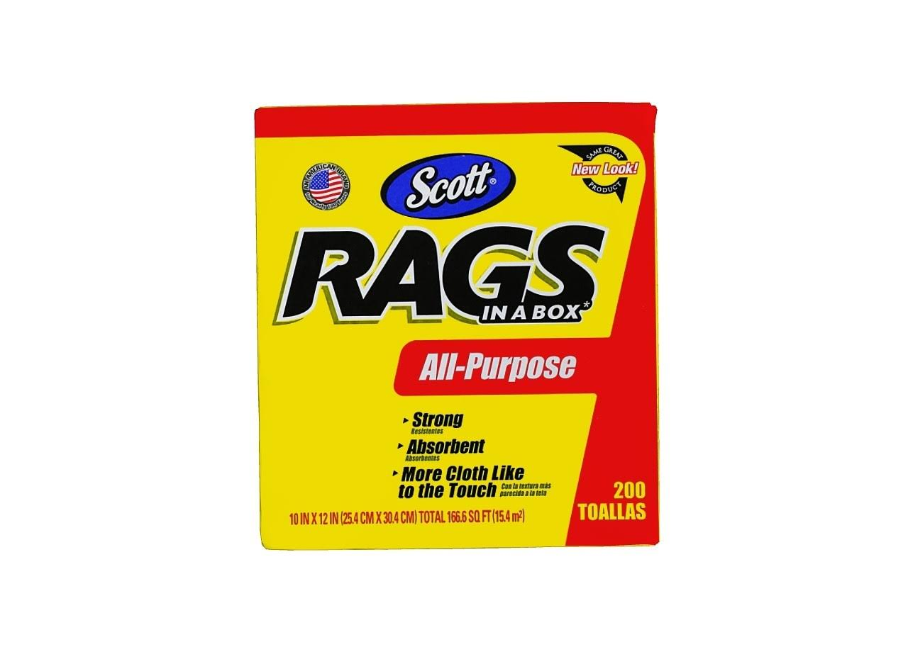 Scott Rags In A Box - White, 200 Towels