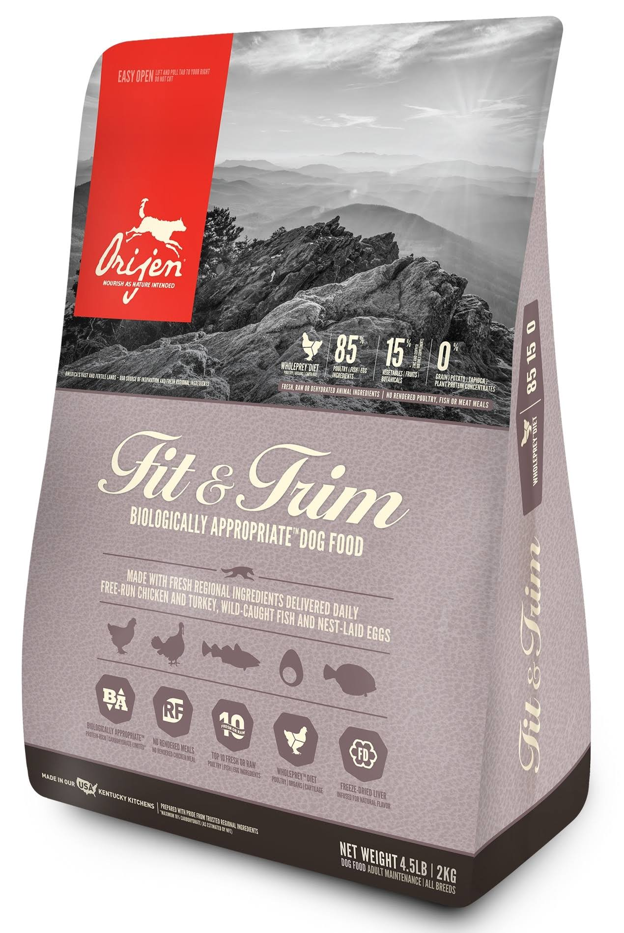 ORIJEN Fit & Trim Dry Dog Food, 4.5 lbs.