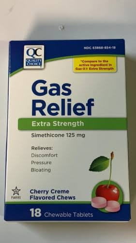 Quality Choice Extra Strength Gas Relief, 125mg, Cherry Creme, 18ct