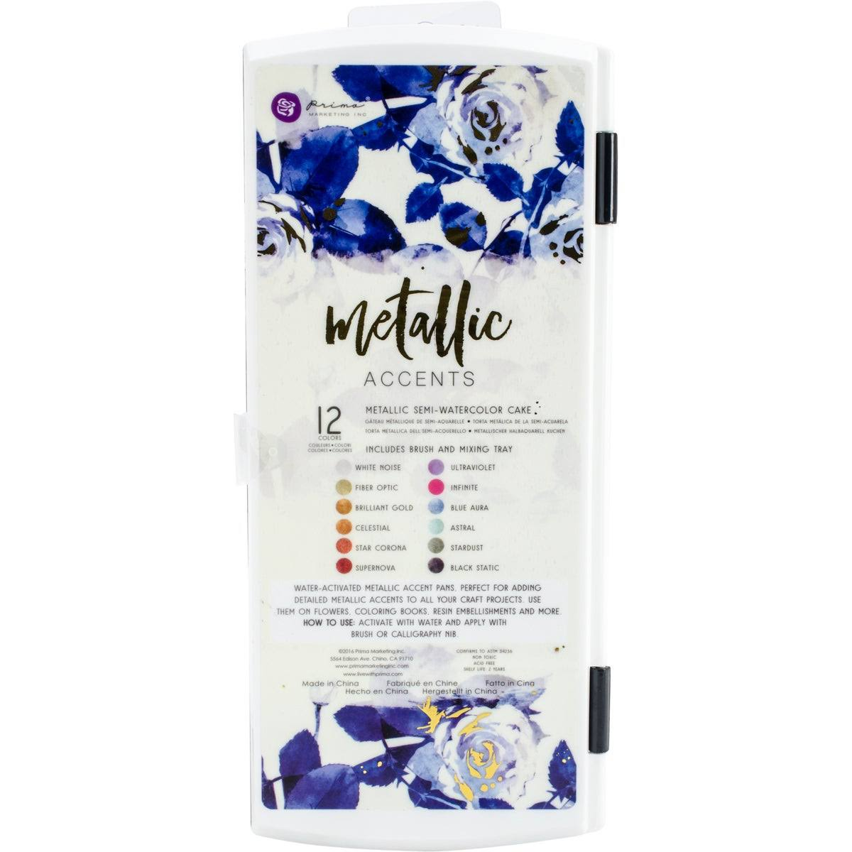 Prima Metallic Accents Semi-watercolor Paint Set - 12 Cake
