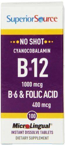 Superior Source No Shot B-12 B6 & Folic Acid - 400mcg, 100 Tablets