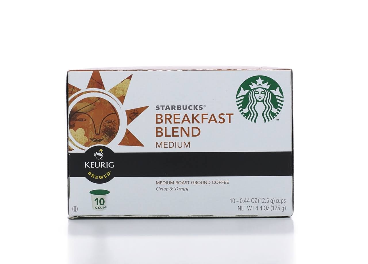 Starbucks Coffee, 100% Arabica, Ground, Medium Roast, Breakfast Blend, K-Cup Pods - 10 pack, 0.44 oz pods