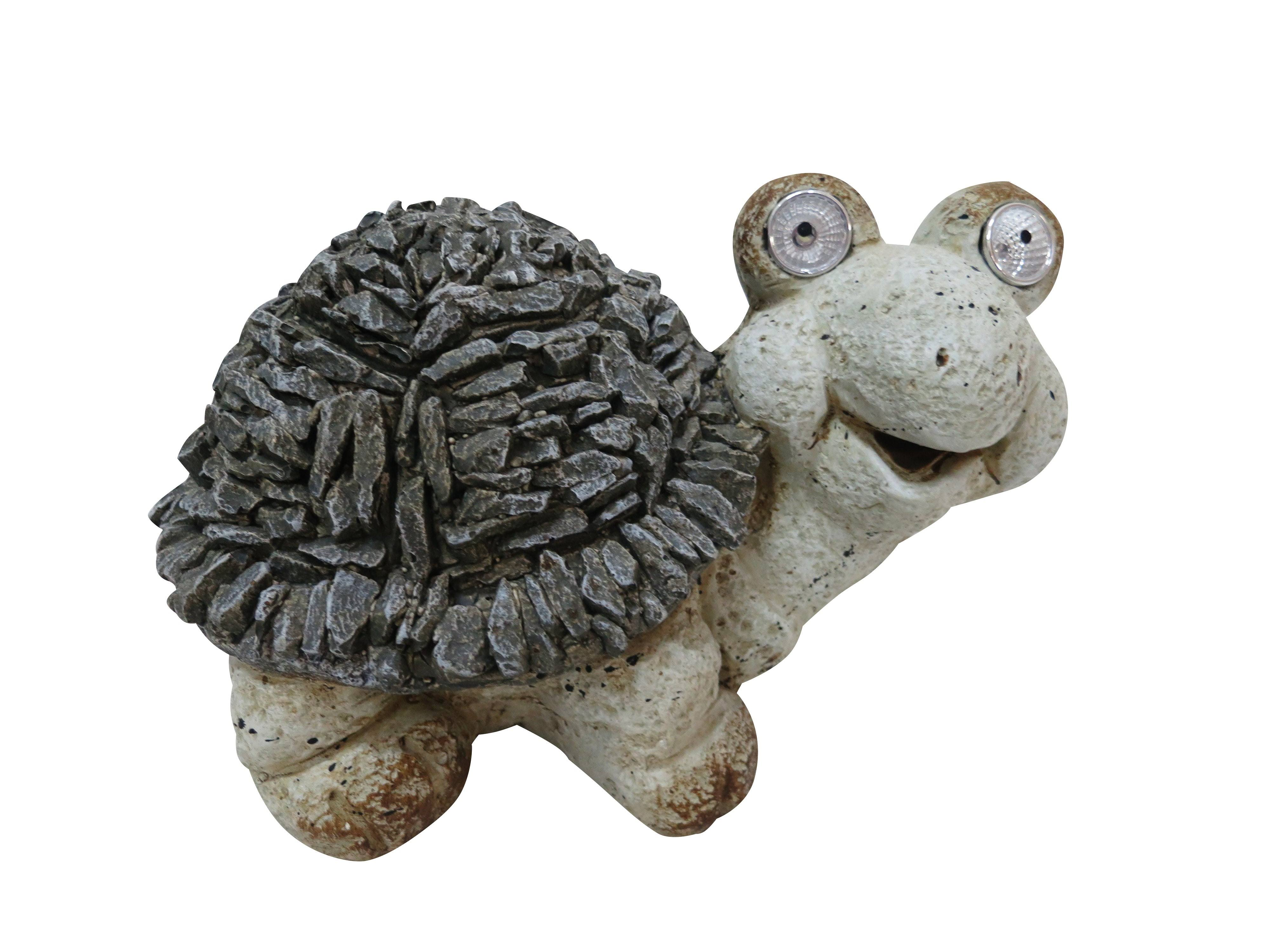 Alpine Solar Turtle Statue w/ LED Lights, 7 inch Tall