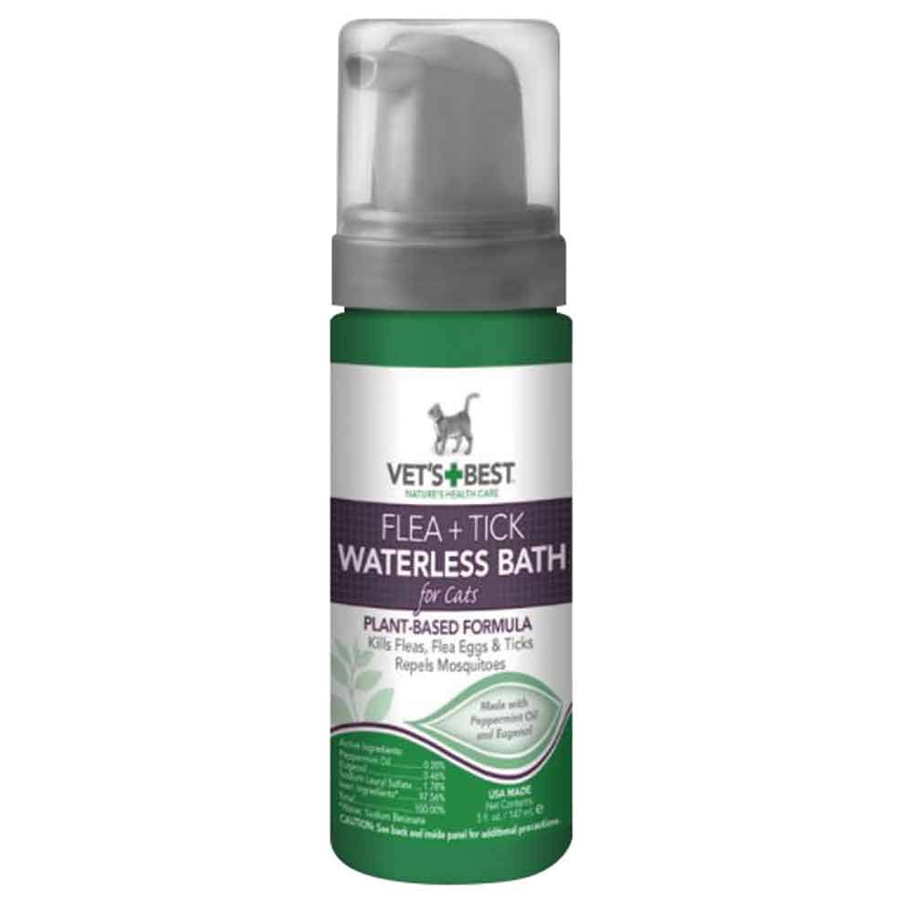 Vet's Best Natural Flea and Tick Waterless Bath Foam - for Cats, 5oz