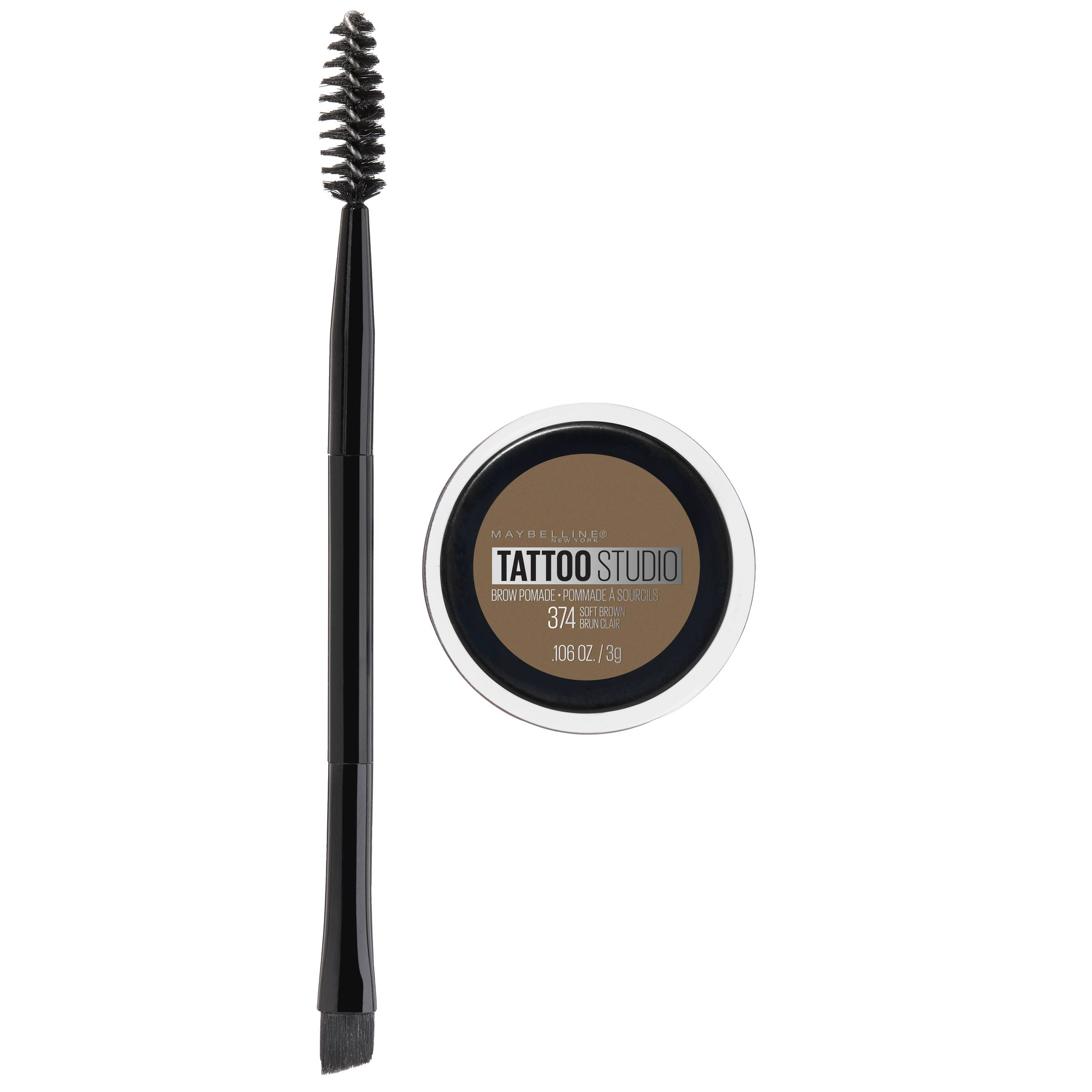 Maybelline Tattoo Studio Brow Pomade - 374 Soft Brown, 0.106oz