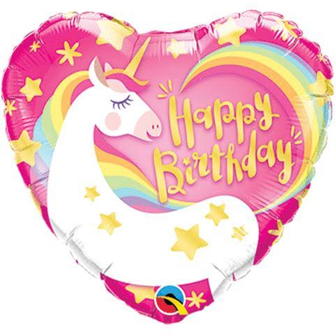 Qualatex 18 inch Heart Foil Balloon - Birthday Magical Unicorn