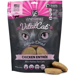 Vital Essentials Freeze Dried Grain Free Chicken Mini Patties Limited Ingredient Entree for Cats - 8 oz