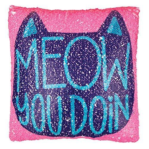 Fashion Angels Kid's Magic Sequin 'Meow You Doin' Throw Pillow One-Size