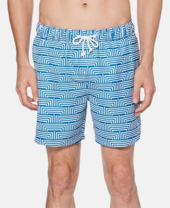 Men's Original Penguin Geo Print Swim Trunks, Size Medium - Blue
