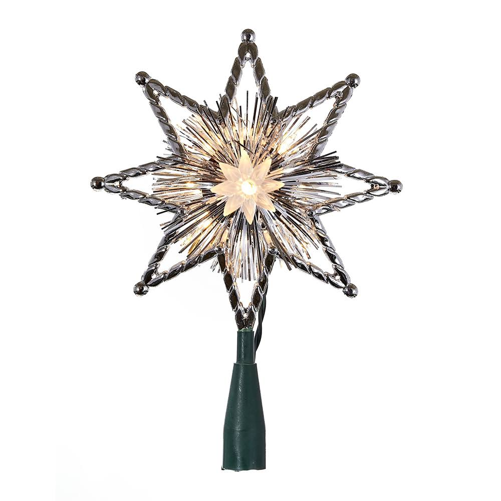 "Kurt Adler 10-Light 8"" Silver Star Tree Topper"