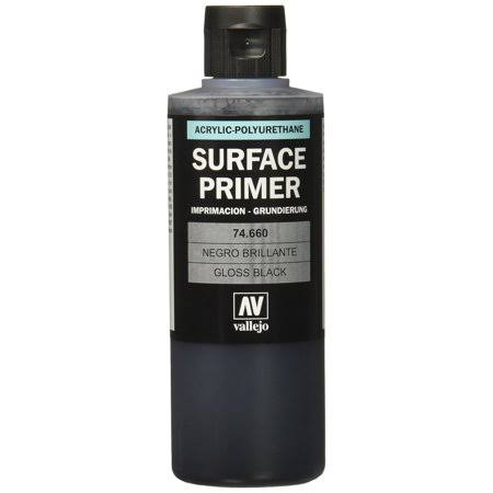 Vallejo Acrylic Surface Primer - 74660 Gloss Black, 200ml