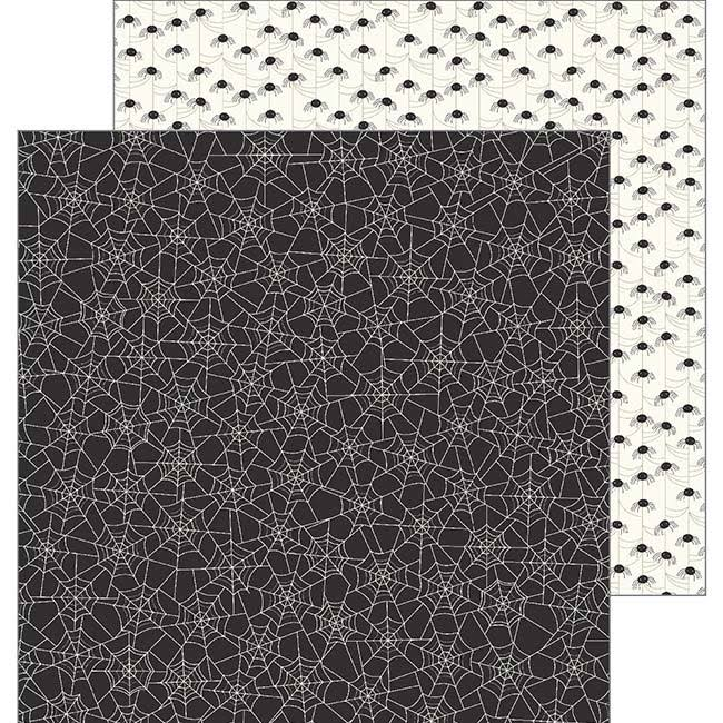 "Pebbles Spooky Boo Eek Paper Cardstock - Black/White, 12"" x 12"", 25pc"
