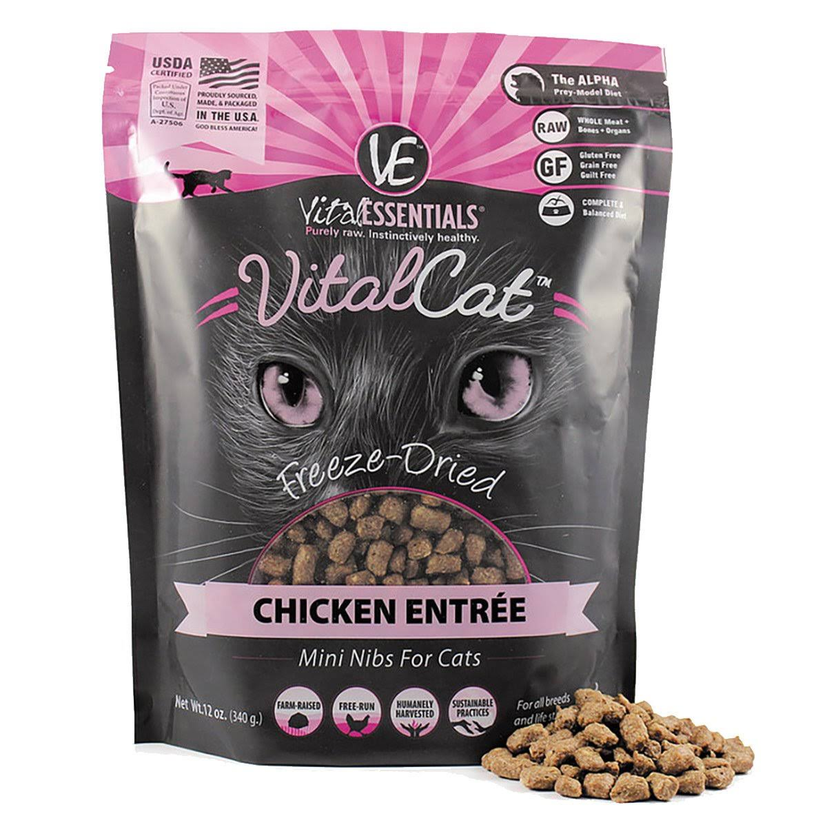 Vital Essentials Freeze-Dried Mini Nibs Chicken Entree Cat Food - 12oz