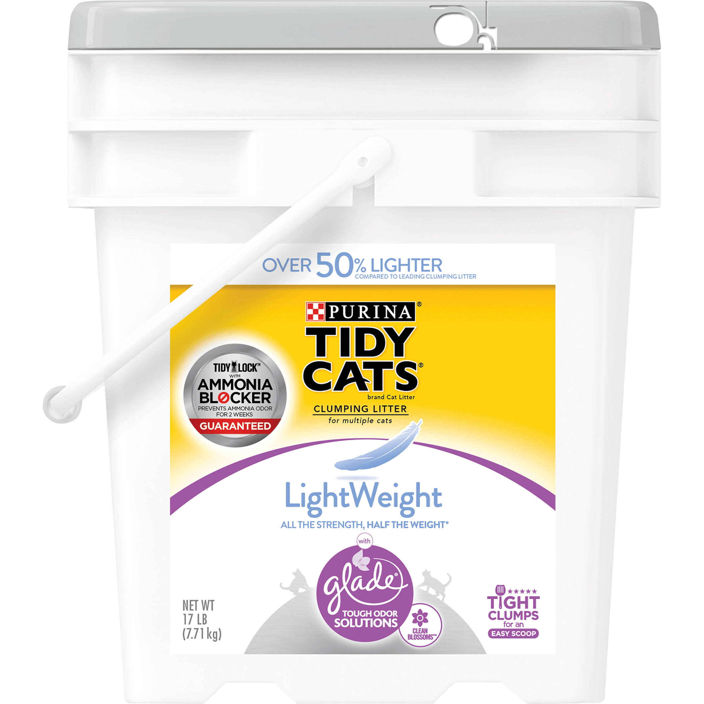 Purina Tidy Cats Lightweight Clean Blossoms Clumping Cat Litter - with Glade Tough Odor Solutions, 17lbs