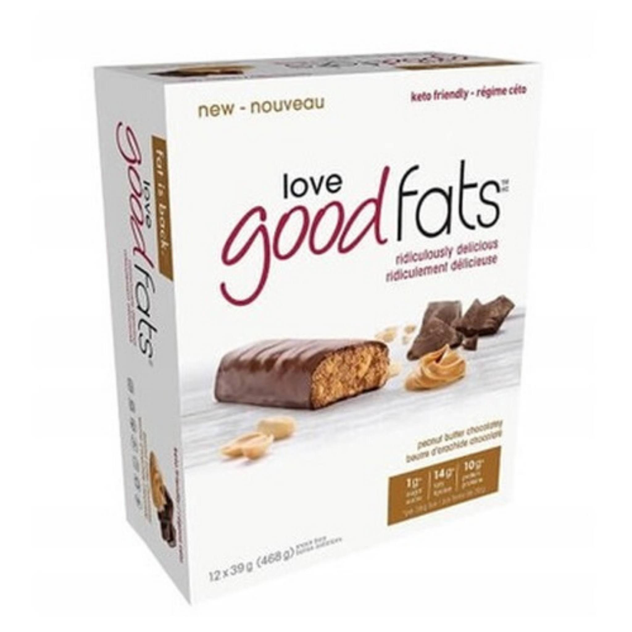 Love Good Fats Peanut Butter Choc Snack Bar 12x39g