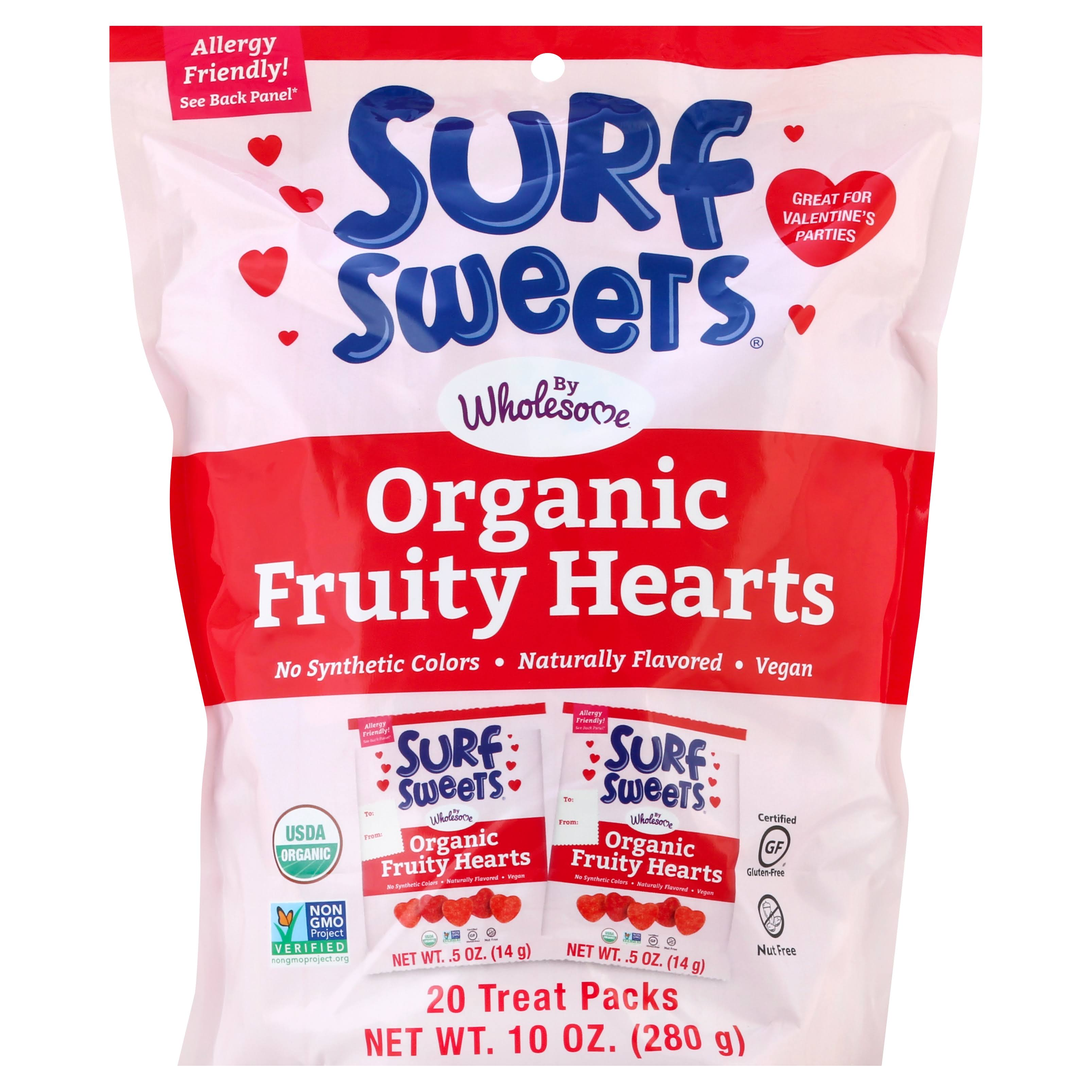 Surf Sweets - Organic Valentine's Day Fruity Hearts Cherry & Watermelon - 20 Packs