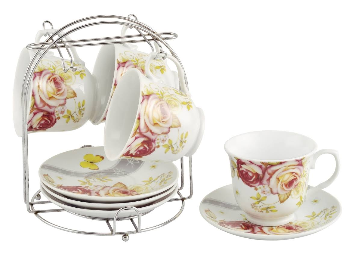Lorren Home Trends Set of 4 Coffee Cups on Metal Stand - Pink Floral