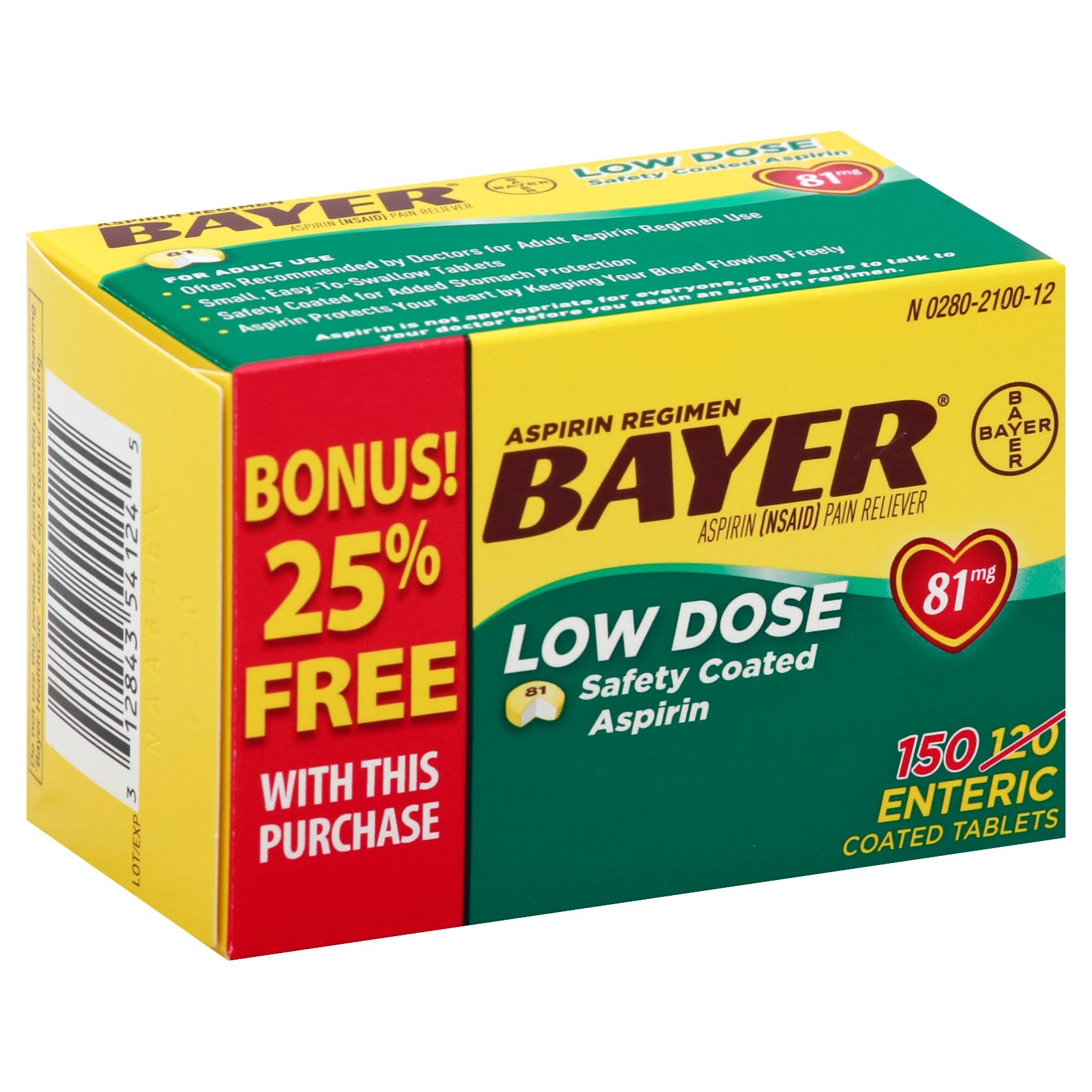 Bayer Low Dose Baby Aspirin Pain Reliever - 81mg, 150ct