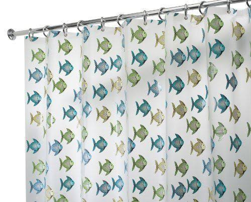interdesign Fishy Shower Curtain - Blue Green