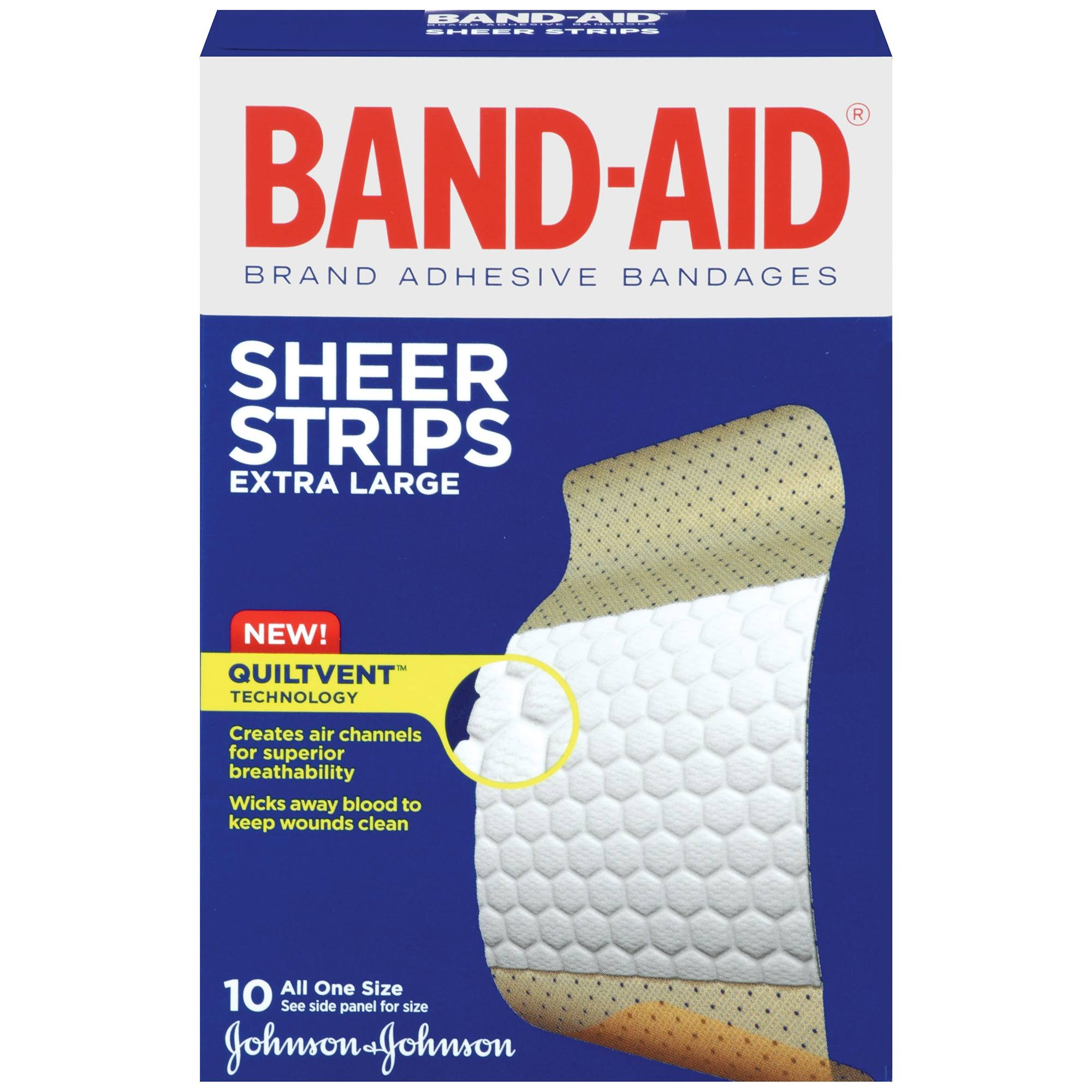 Band Aid Sheer Adhesive Bandages - Extra Large, 10 Pack