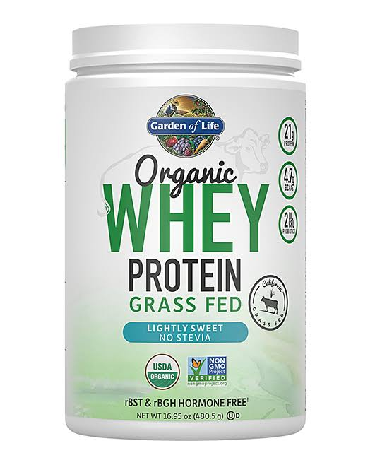 Garden of Life Whey Protein, Grass Fed, Organic, Lightly Sweet Stevia - 16.95 oz