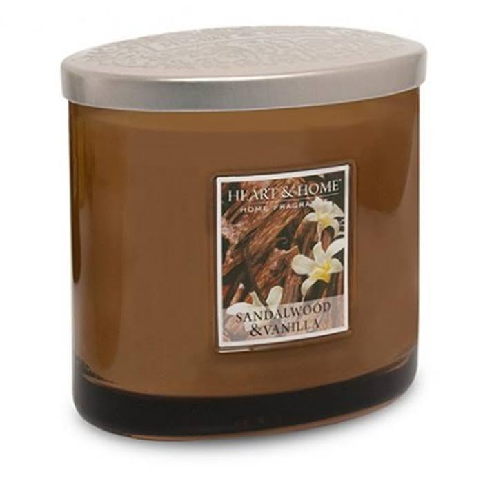 Heart & Home Scented 2 Wick Ellipse Candle - Sandalwood & Vanilla