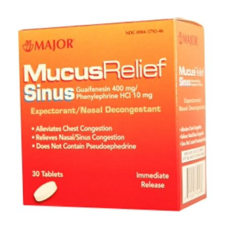 Major Mucus Relief Sinus Expectorant & Nasal Decongestant - 30 Tablets