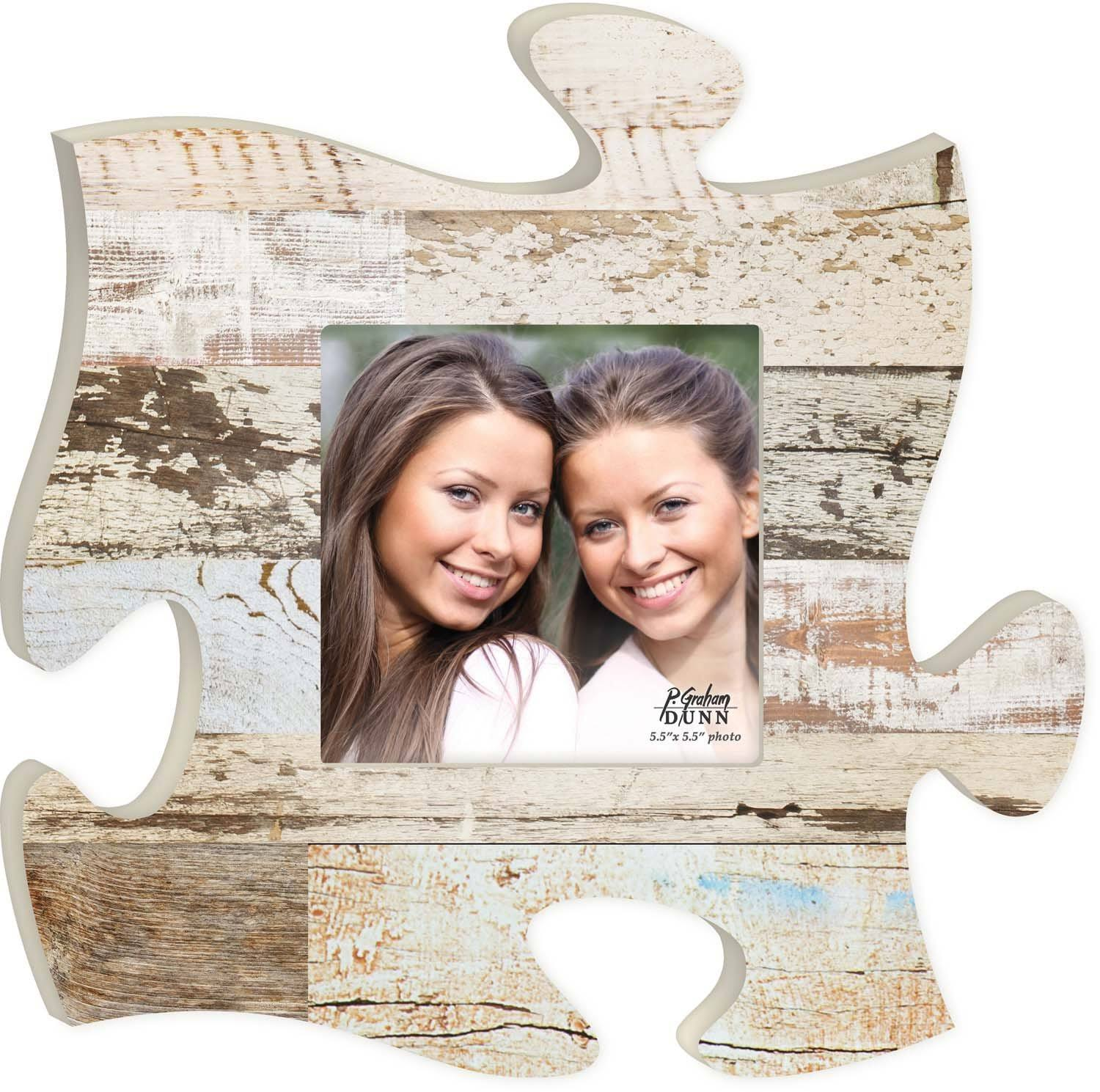 White Multicolor Distressed Wood Look 12 x 12 Wall Hanging Wood Puzzle Piece Photo Frame