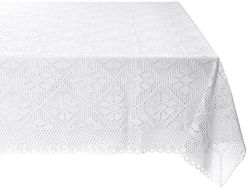 Violet Linen Stars Crochet Vintage Lace Design Tablecloth, White