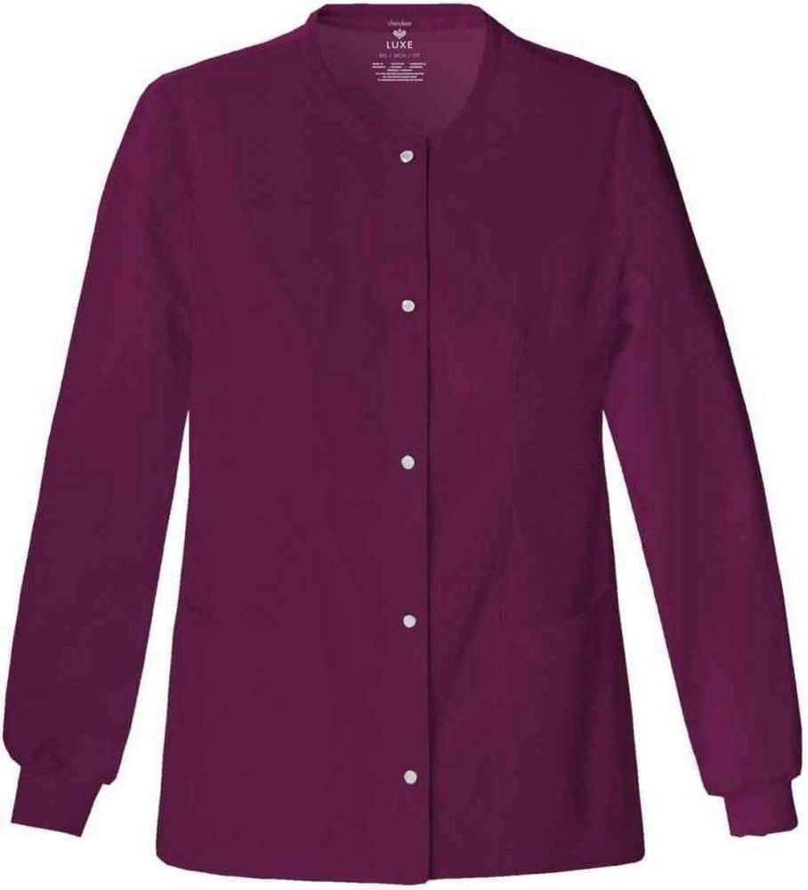 Wine Cherokee Scrubs Luxe Snap Front Warm up Jacket - Wine, Large