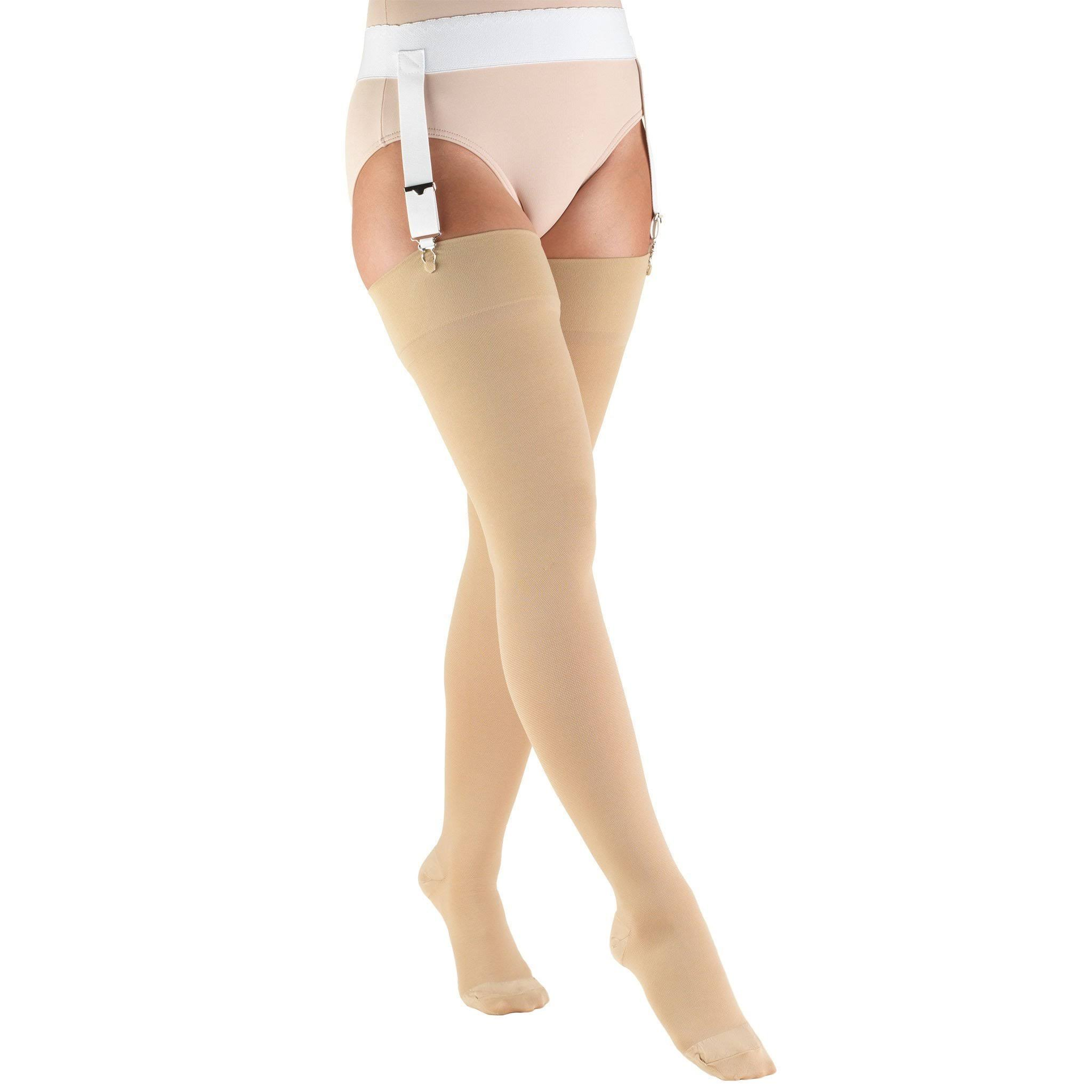 Truform Thigh High Closed Toe Stockings - 20 to 30mmhg, Beige, Large