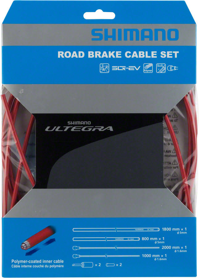Shimano Ultegra 6800 Polymer Coated Road Bicycle Brake Cable Set - Red