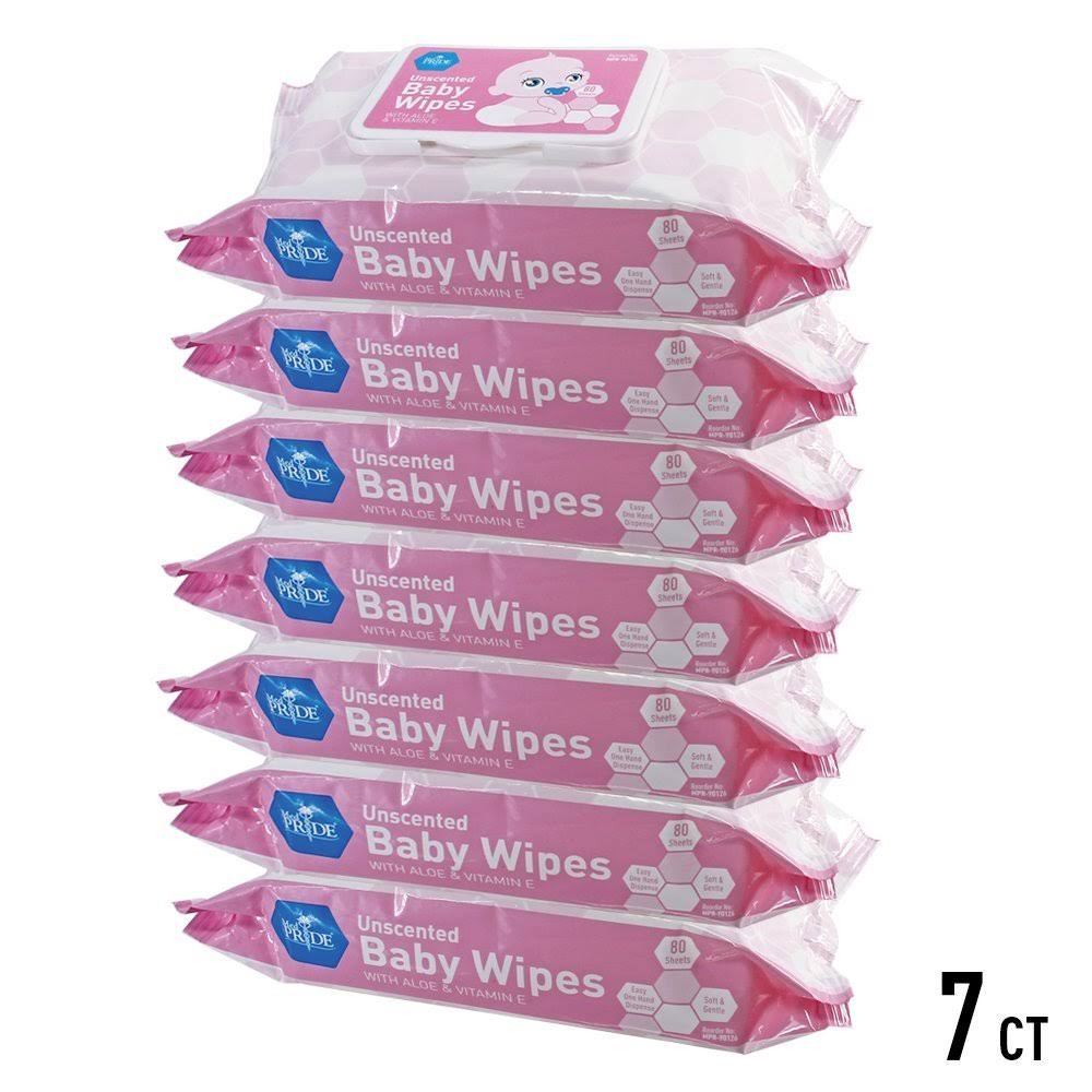 MedPride Un-Scented Baby Wipes, Pink, Pack of 80