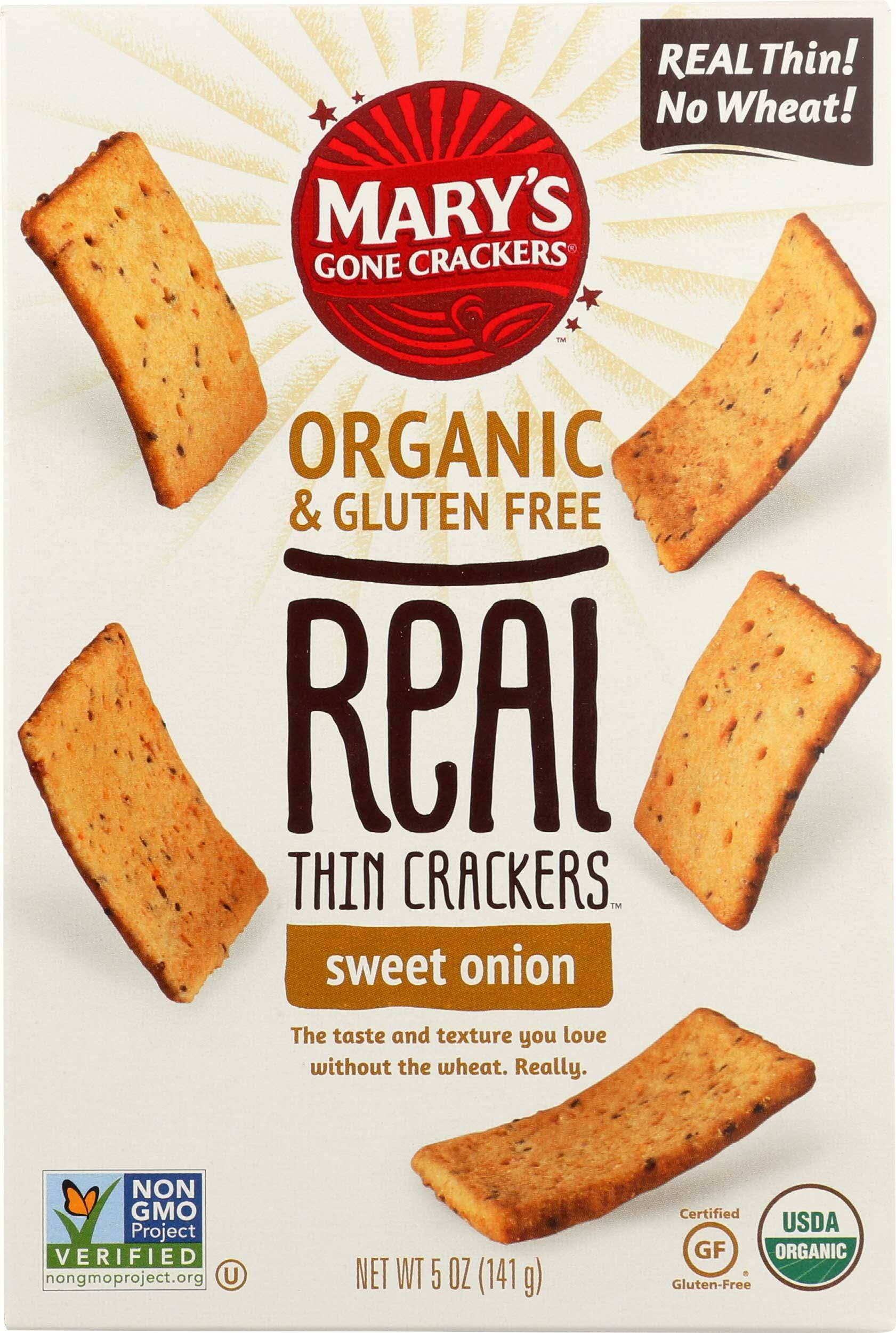 Marys Gone Crackers Crackers, Organic & Gluten Free, Sweet Onion, Thin - 5 oz