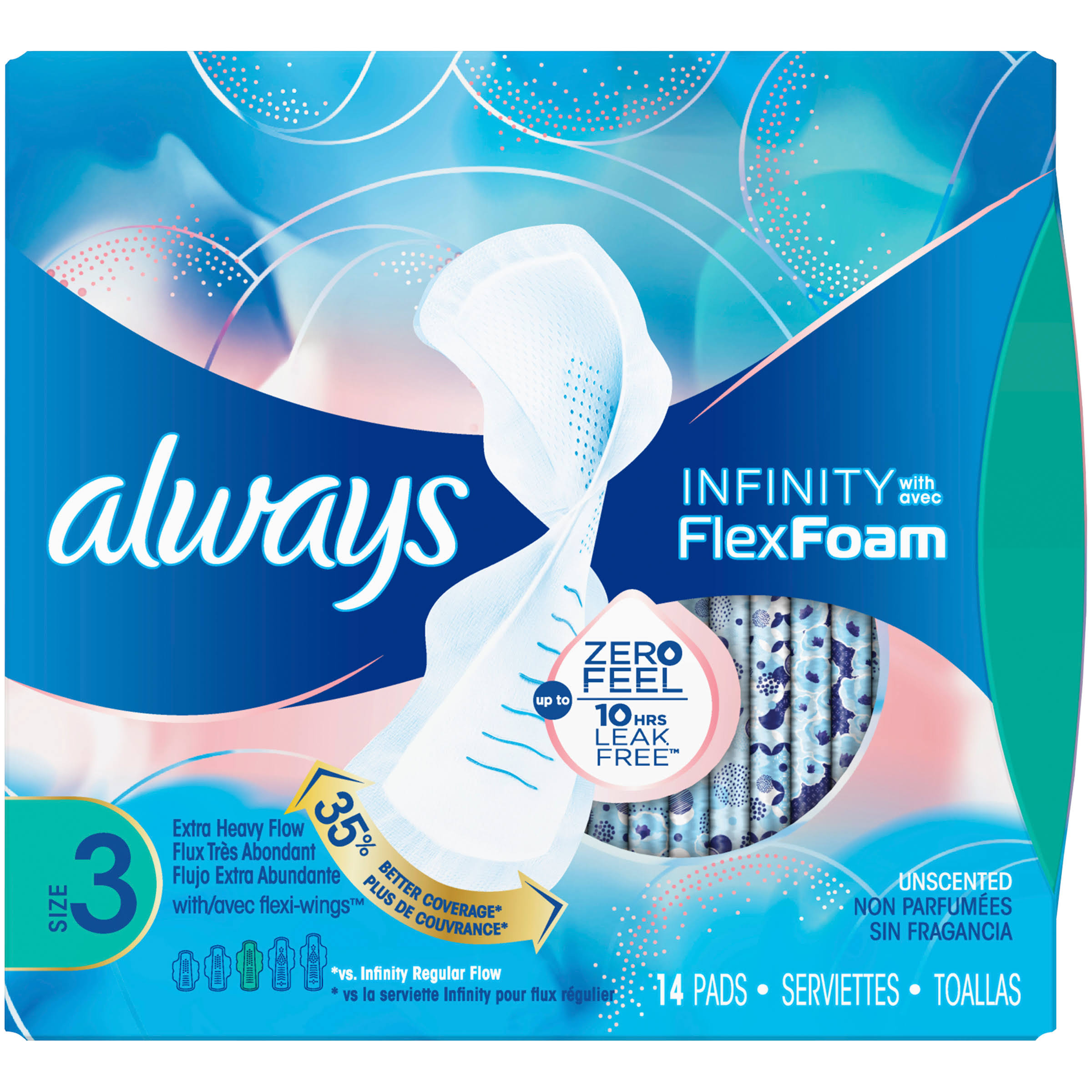 Always Infinity With Flex Foam Pad - Size 3 Extra Heavy Flow Pads, 14 Pads