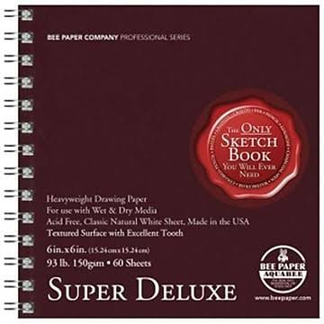 Bee Paper Super Deluxe Sketch Pad - 6 x 6 in, 60 sheets