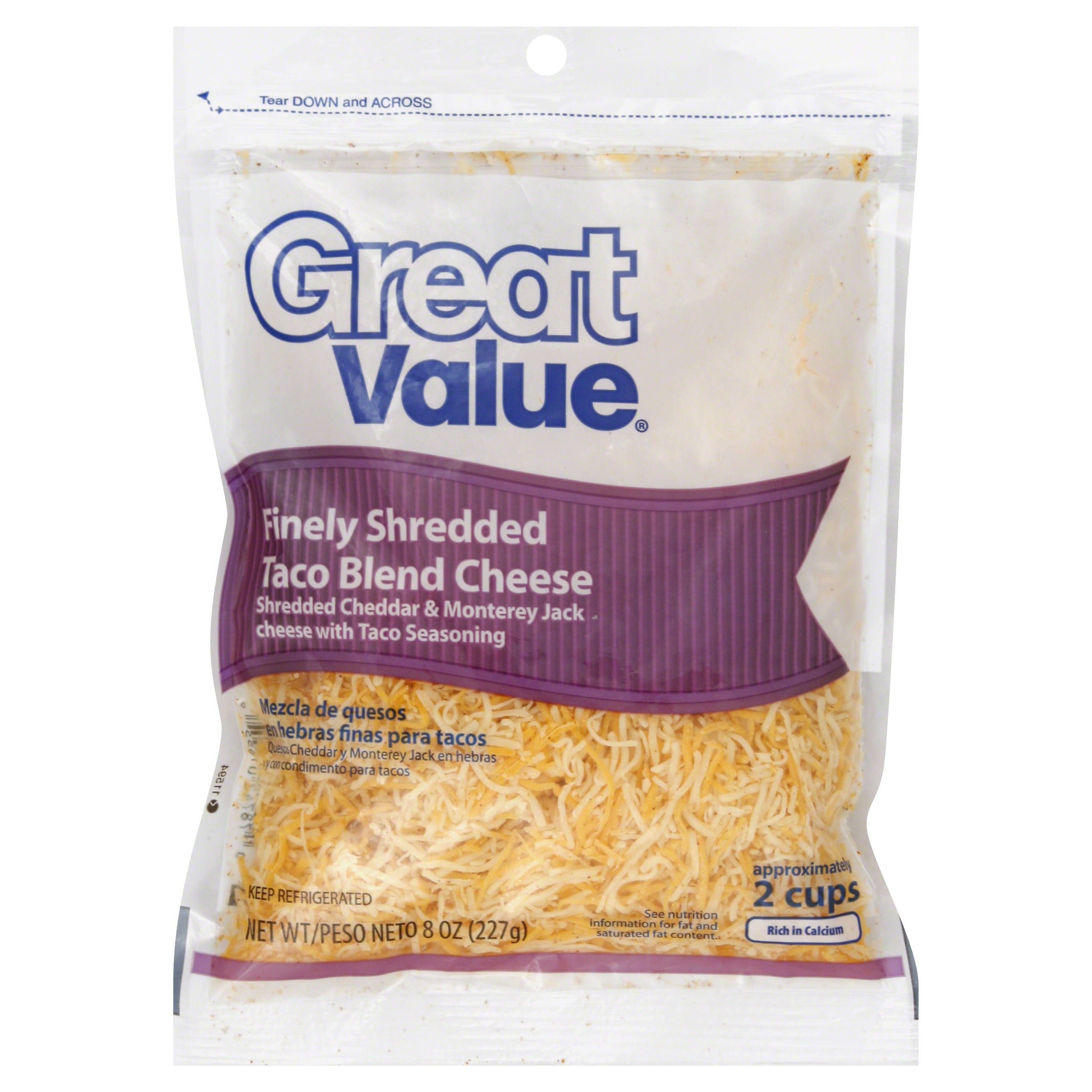 Great Value Finely Shredded Taco Blend Cheese - 8 oz