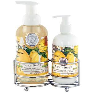 Michel Design Works Hand Care Soap and Lotion Caddy Set - Lemon Basil