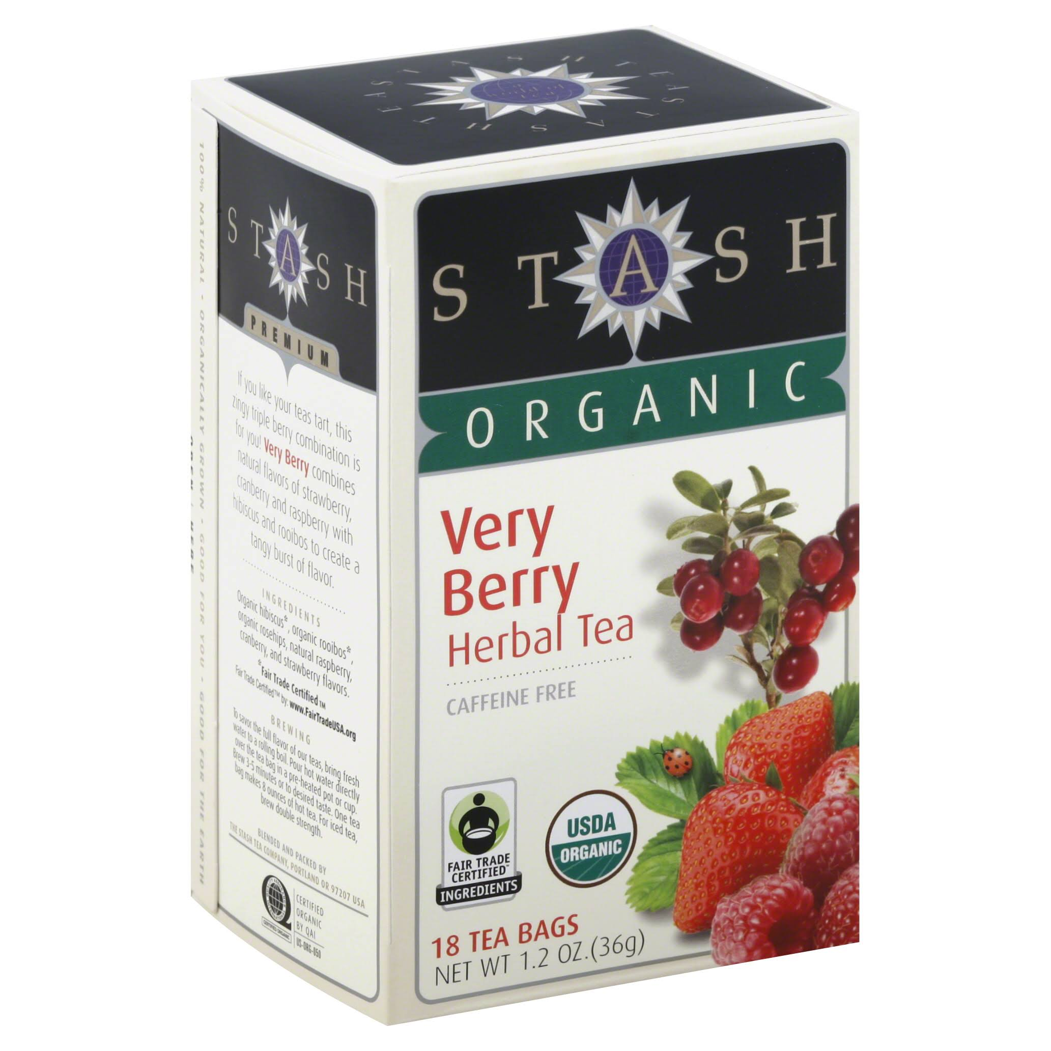 Stash Tea Company Organic Very Berry Herbal Tea - 18 Tea Bags, 36g